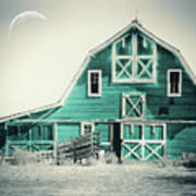 Luna Barn Teal Art Print