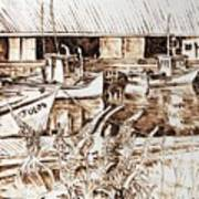 Lupines At Murray B_w Art Print