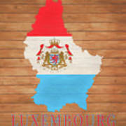 Luxembourg Rustic Map On Wood Art Print