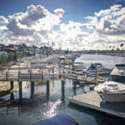 Luxury Boats Moored At Naples Island, Long Beach, Ca Art Print