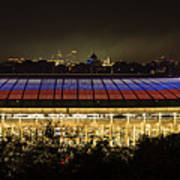 Luzhniki Stadium At Summer Night Against The Background Of The Ministry Of Foreign Affairs, The Cath Art Print