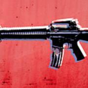 M16 Assault Rifle On Red Art Print by Michael Tompsett