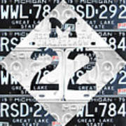 M22 Michigan Highway Symbol Recycled Vintage Great Lakes State License Plate Logo Art Print by Design Turnpike