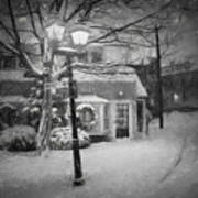 Mablehead Market Square Snowstorm Old Town Evening Black And White Painterly Art Print