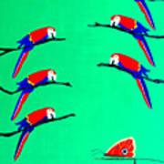 Macaw Ladder Art Print