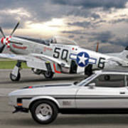 Mach 1 Mustang With P51  Art Print