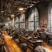 Machinist - A Room Full Of Lathes  Art Print by Mike Savad