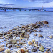 Mackinac Bridge From The Beach Art Print by Twenty Two North Photography
