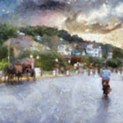Mackinac Island Michigan Bikes And Horses Pa 01 Art Print