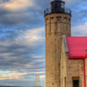 Mackinac Lighthoue And Bridge Art Print