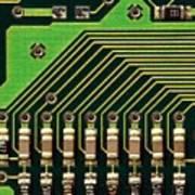 Macro Image Of A Computer Motherboard Art Print
