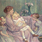 Madame Van De Velde And Her Children Art Print by Theo van Rysselberghe