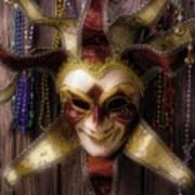 Madi Gras Mask And Beads Art Print