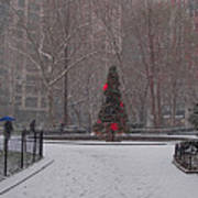 Madison Square Park In The Snow At Christmas Art Print