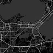 Madison Wisconsin Usa Dark Map Art Print