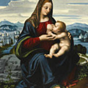 Madonna And Child Before A Landscape Art Print