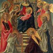 Madonna And Child Enthroned With Angels And Saints Art Print