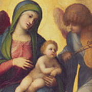 Madonna And Child With Angels Art Print