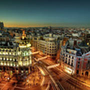 Madrid Cityscape Art Print by Photo by cuellar