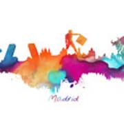 Madrid Colored Skyline Art Print