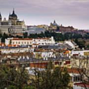 Madrid Panorama From Debod Lookout Madrid Spain  Art Print