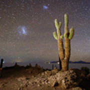Magellanic Clouds And Forked Cactus Incahuasi Island Bolivia Art Print