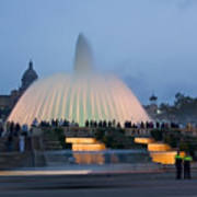 Magic Fountain In Barcelona Art Print