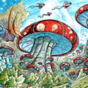 Magic Mushroom Forest Art Print