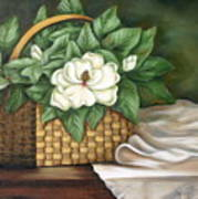 Magnolia Basket Art Print