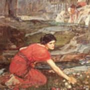 Maidens Picking Flowers By The Stream Art Print