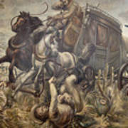 Mail Coach Attacked By Bandits Art Print