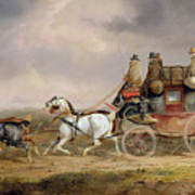 Mail Coaches On The Road - The Louth-london Royal Mail Progressing At Speed Art Print