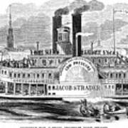 Mail Steamboat, 1854. /nthe Louisville Mail Company Steamboat Jacob Strader. Wood Engraving, 1854 Art Print