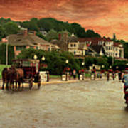 Main Street Mackinac Island Michigan Panorama Textured Art Print
