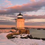 Maine Bug Light Lighthouse Snow At Sunset Art Print