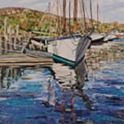 Maine Coast Boat Reflections Art Print