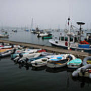 Maine Falmouth Boat Landing On Misty Morning Panorama Art Print
