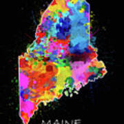Maine Map Color Splatter 2 Art Print