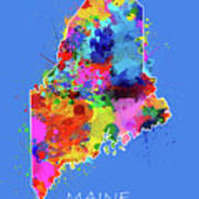 Maine Map Color Splatter 3 Art Print