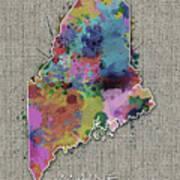 Maine Map Color Splatter 5 Art Print