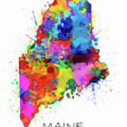 Maine Map Color Splatter Art Print