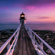 Maine Sunset At Marshall Point Lighthouse Art Print