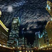 Majestic Chicago - Windy City Riverfront At Night Art Print