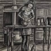 Making Bread In The Cabin Art Print