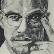 Malcolm X Art Print by Stephen Sookoo