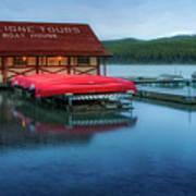 Maligne Tours Boat House Art Print