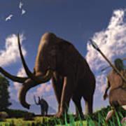 Mammoth Hunters Art Print
