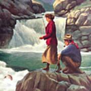 Man And Woman Fishing Art Print