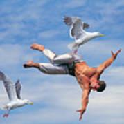 Man Being Carried By Bird Art Print