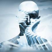 Man Face With Mechanical Cogwheel Overlay. Art Print